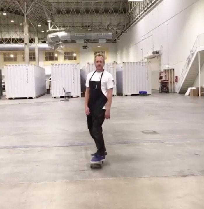 chef aram reed riding a skateboard