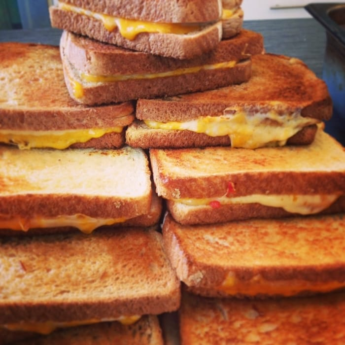 outrageous grilled cheese made by chef aram reed