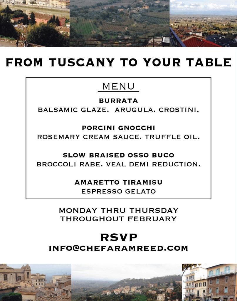 tuscan dinner menu